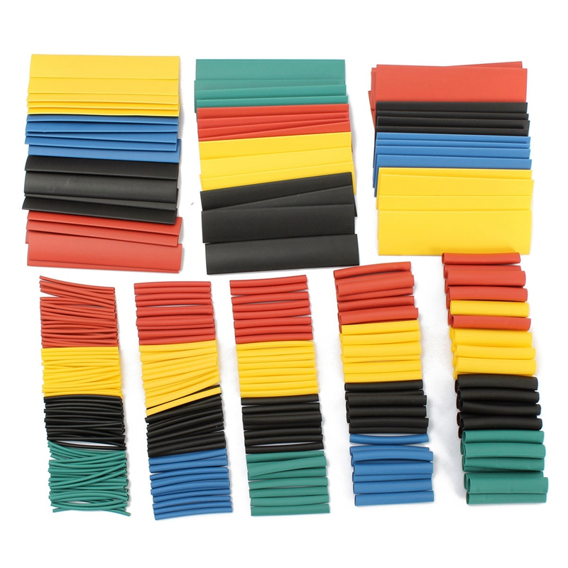 328Pcs 8 Sizes Multi Color SOLOOP Assortment Ratio 2:1 Heat Shrink Tubing Sleeving For Wrap 5 Colors Tube Sleeving Wrap Wire Kit 200meter set 3 5mm pvc heat shrink tube ratio 2 1 sleeving for insulating connector