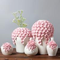 White Ceramic Flower Vase Home Decor Accessories Art Design Flower Pot Flowerpot