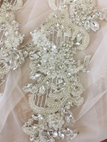 Exquisite Clear Silver 3D Rhinestone Beaded Bridal Lace Applique for Wedding Sash Bridal Hair Flower Boutique Haute Couture
