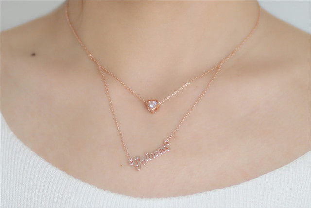 Colgantes Mujer Exquisite Rose Gold Color Letter Princess Necklace