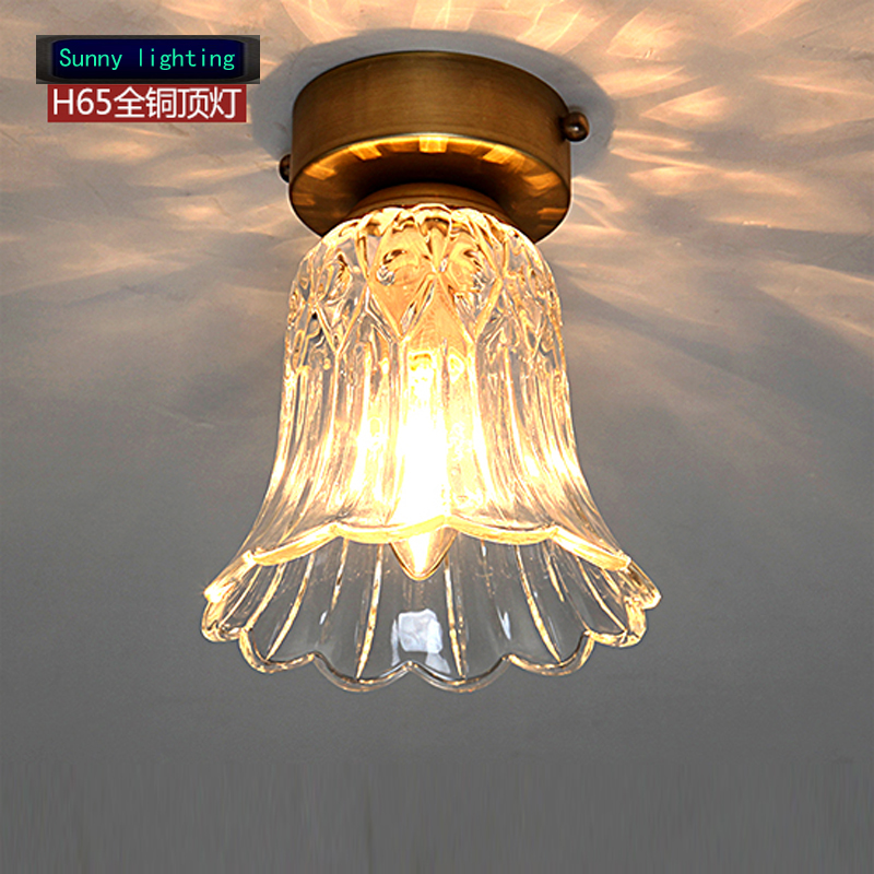 American Style Pure Copper Ceiling Light In The Bedroom Bathroom Entrance Corridor Lamp Crystal Lam Vintage LED Ceiling Lamps bright colorful led lamp installed inside the entrance hall light corridor lamp ceiling lamp lamp stunning