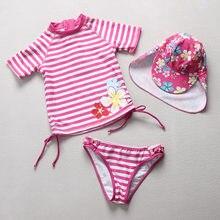 89ba9249ad717 Swimsuits Girls 2018 Swimwear Children Girl UPF50+ Sun Protection Two Pieces  Rash Guards Stripe Kid Beach Bathing Suit Swim Wear