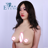 EYUNG Shivell mask with F Cup solid Silicone Breast Forms Transgender Artificial Boob crossdresser tit female cosplay Masquerade
