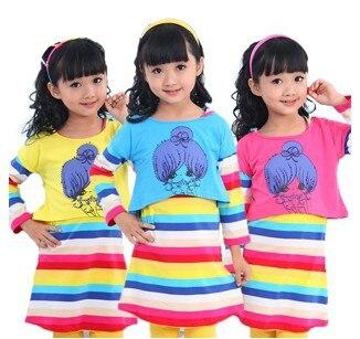 4-6-9-10-11-12-13 продажа новый 2016 детская весна девушки одежда платье ребенок радуга Полосы платья ребенок принцесса полосой одежда