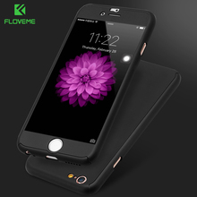 FLOVEME Case For iPhone 6 iPhone 5 5S SE 360 Degree Case For iPhone 7 6 6S Plus Hard Cases For iPhone 6 6S 7 Free Tempered Glass