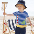 Summer blue striped boy t shirt dinosaur appliques simple cotton boys clothes for 1-6T babys