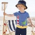 Verão listrado azul camisa do menino t dinossauro apliques simples babys algodão meninos roupas para 1-6 T