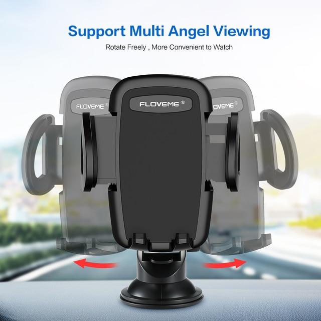 FLOVEME Luxury Car Phone Holder For iPhone XS Max 360 Rotation Phone Mount Holder Windshield Mount Stand Support Telefon Tutucu 4