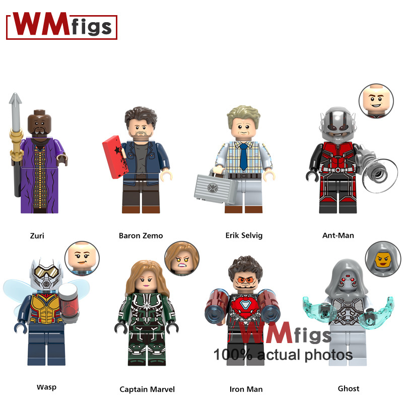 Model Building Toys & Hobbies 8pcs/lot Zuri Baron Zemo Erik Antman Wasp Ghost Iron Man Legoings Captain Marvel Super Heroes Building Blocks Gifts Kids Toys Aromatic Character And Agreeable Taste