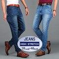 Moda Para Hombre Slim Fit Jeans Pantalones Hombres de Alta Stretch Negro Azul Spandex Denim Jeans Tallas grandes 40 42 44 46 48 7718