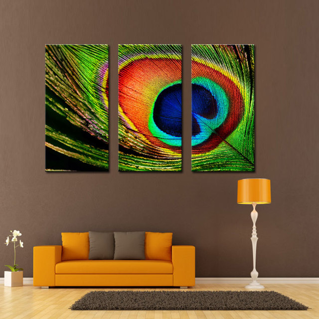 3 Picture Combination Modern Canvas Painting Wall Art Beautiful Peacock  Feather Picture Prints On Canvas Artworks