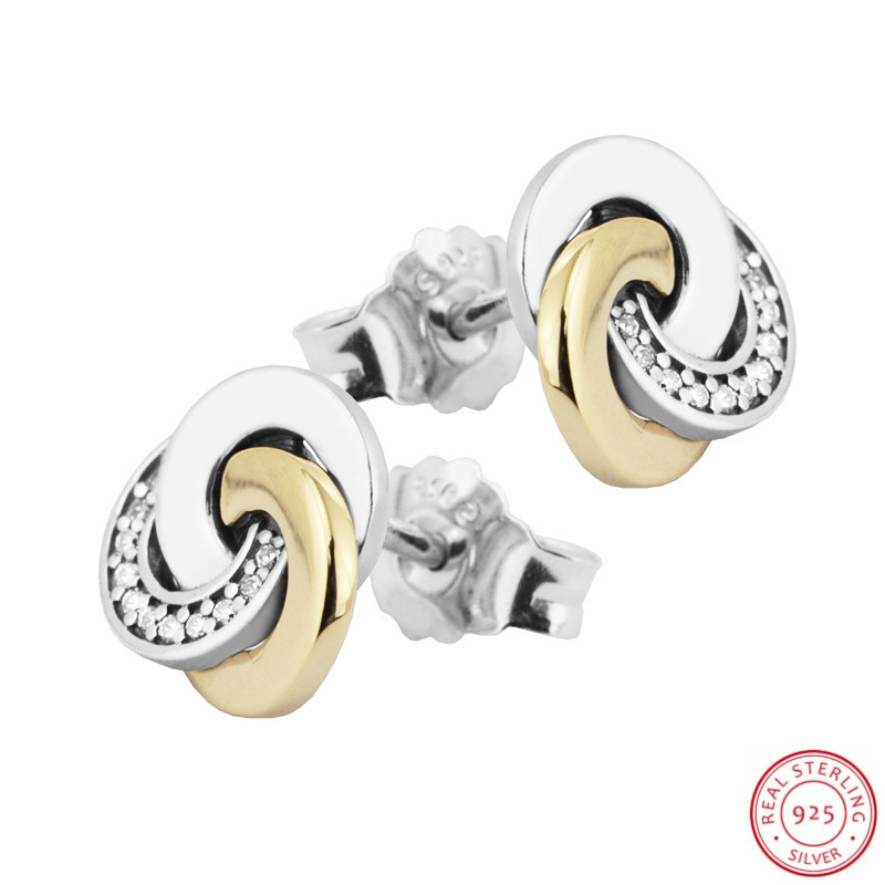 Vintage Vibe 925 Sterling Silver Real 14K Gold Interlinked Circles Stud Earrings for Women Pave CZ