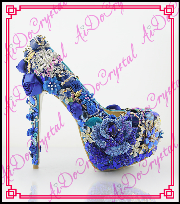 Aidocrystal 2016 Royal Blue Wedding Rhinestone Shoes Evening Crystal High Heel Diamond Studded Heels pure handmade Pumps New