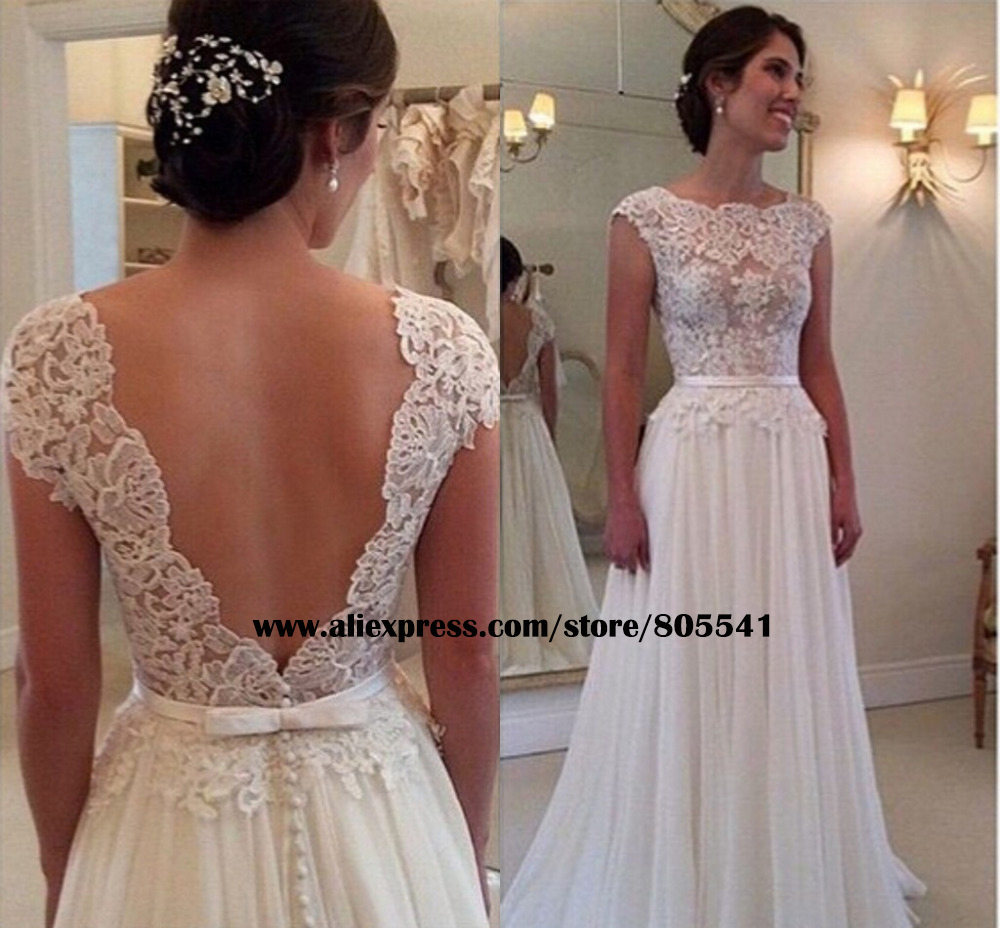 Sexy Sheer Top Lace Appliques Ivory Wedding Dress Vintage A Line Cap