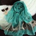 """Полосатый с большие шелковые шарфы зеленый шелковый шарф патчи серого цвета хаки японский мода """" женщины летний шарф весной 2016 красивая"""