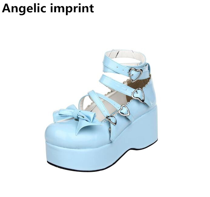 Angelic imprint handmade woman mori girl lolita cosplay shoes lady high heels pumps women princess dress