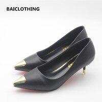 BAICLOTHING kadın sevimli pu deri ofis yüksek topuklu lady rahat kayma on kadın serin siyah yüksek topuk ayakkabı pompalar zapatos de mujer