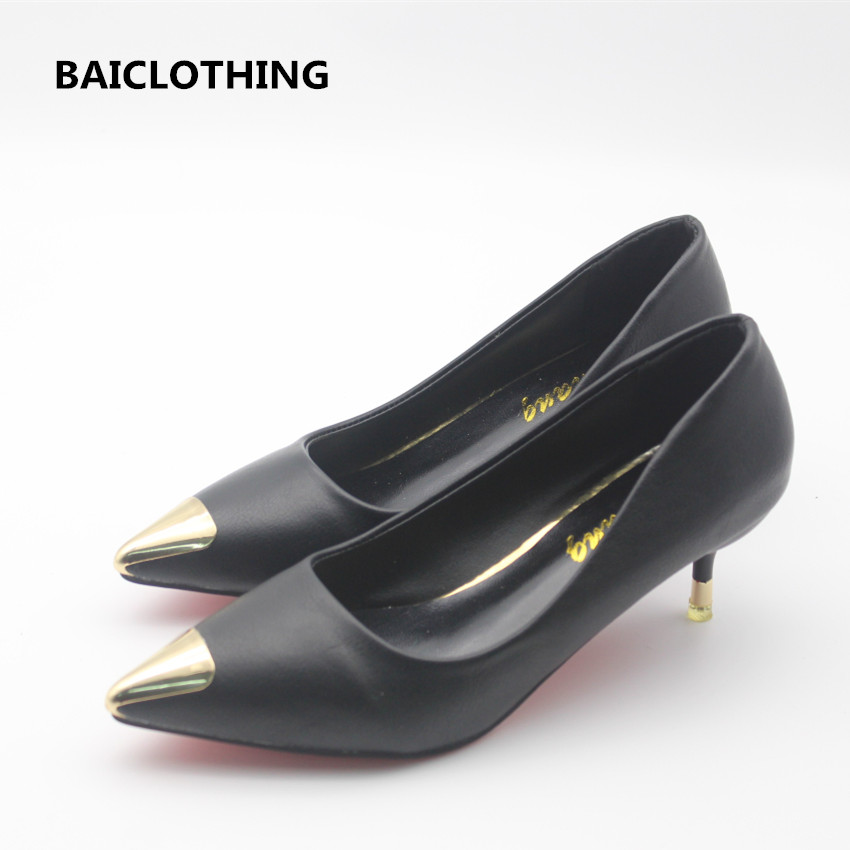 BAICLOTHING women cute pu leather office high heels lady casual slip on pumps female cool black high heel shoes zapatos de mujer 2017 shoes women med heels tassel slip on women pumps solid round toe high quality loafers preppy style lady casual shoes 17