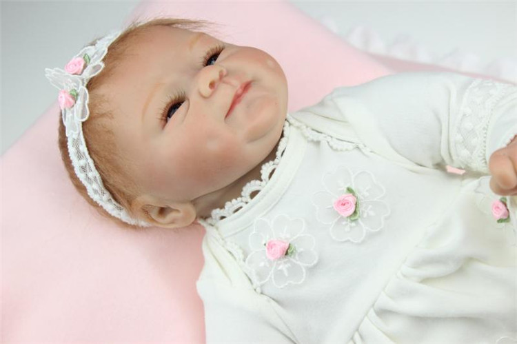 <font><b>Happy</b></font> Smile 45cm 18inch Silicone Baby Doll For Sale With Fairlady <font><b>Like</b></font> Cotton Dress Classic Bebe Reborn De Silicone For Children