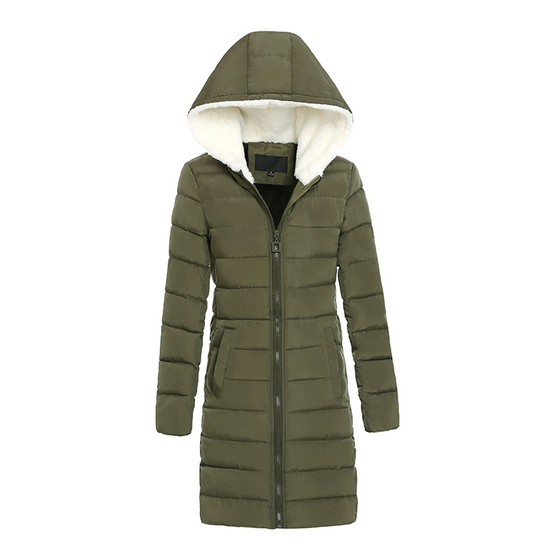 Long Winter Parka Women Cotton Padded Hooded Coats Quilted Puffer Outwear Warm Solid Fake Lambswool nike alliance parka 550 hooded