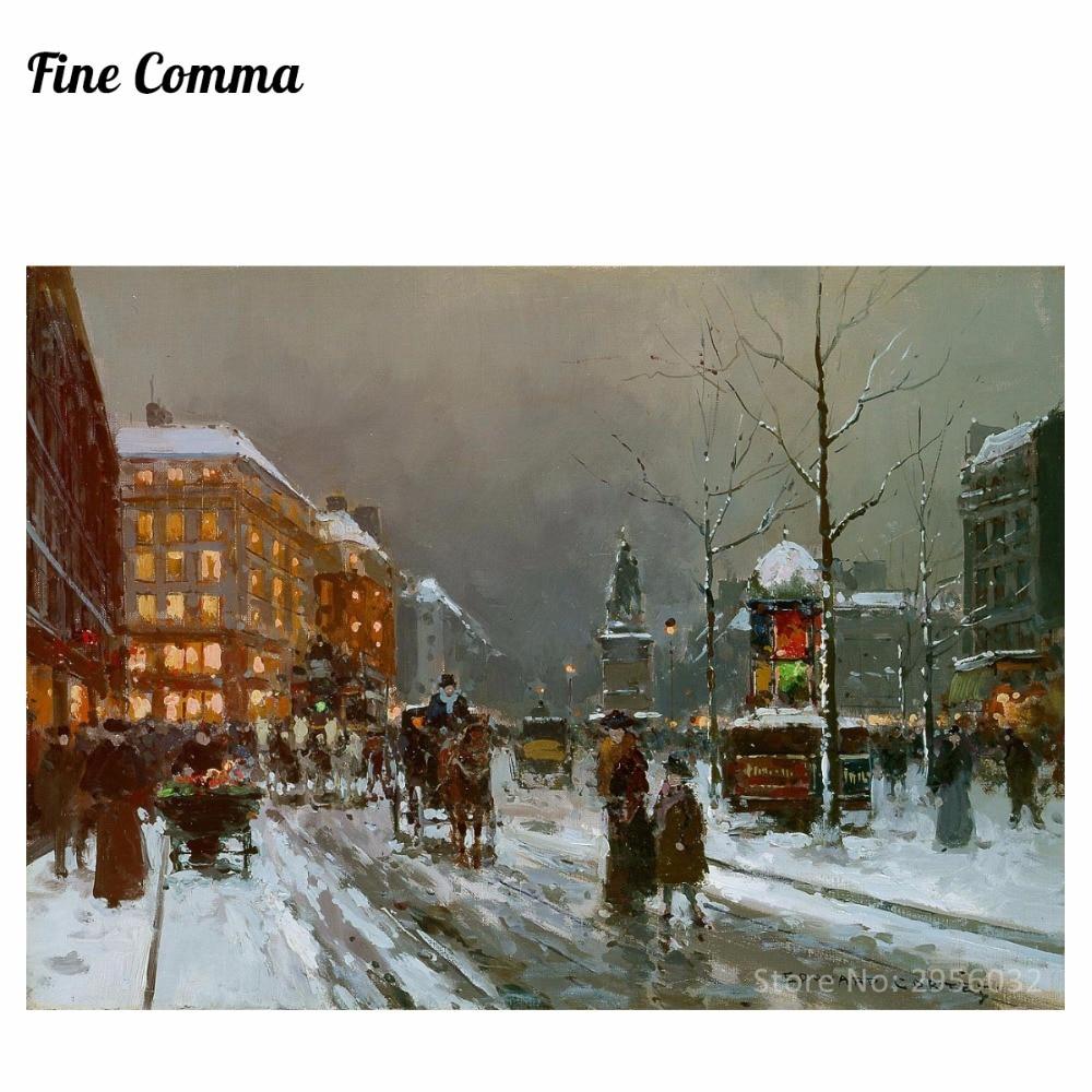 Place de Clichy v zimě od Edouard Leon Cortes Ručně malované Olejomalba Reprodukce Replika Wall Art Canvas Painting Repro
