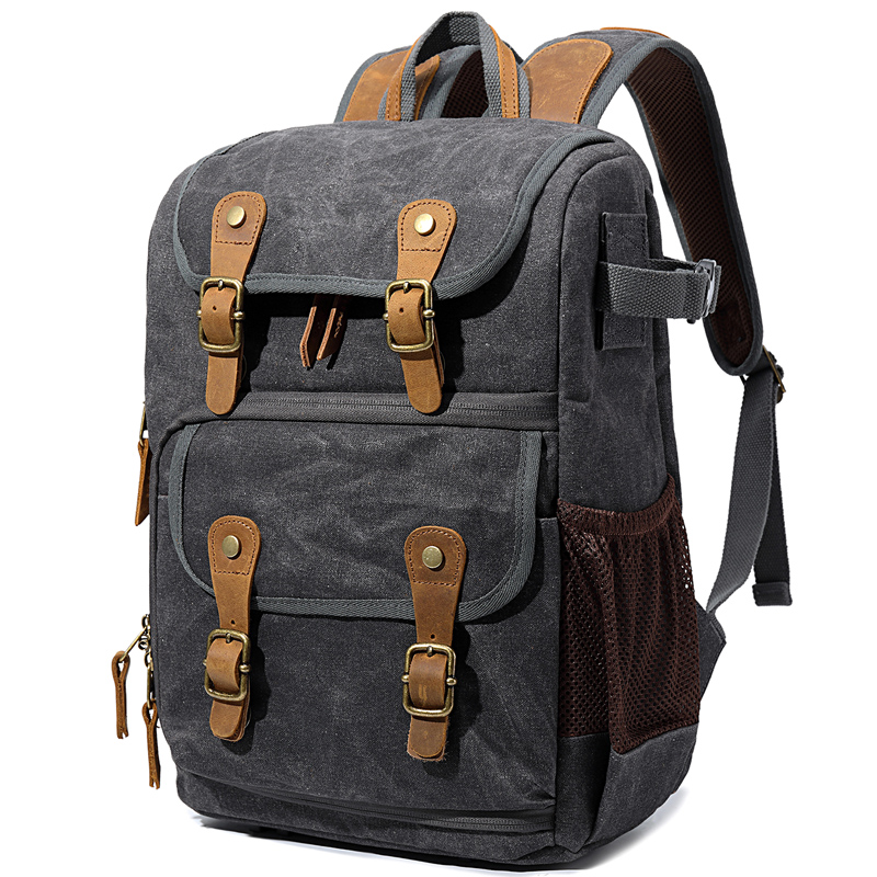 CAREELL Retro Batik Canvas Crazy Horse Leather Digital Rucksack Lens Photo Bags Camera Backpack Bag for