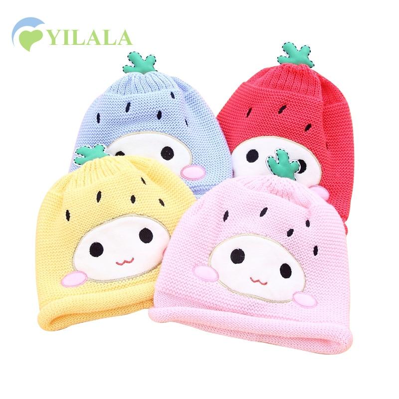 Cartoon Baby Hat Cotton Warm Baby Winter Beanie Strawberry Boys Girls Knitted Hat 6-12M Soft Baby Winter Hat Baby Girls Clothing