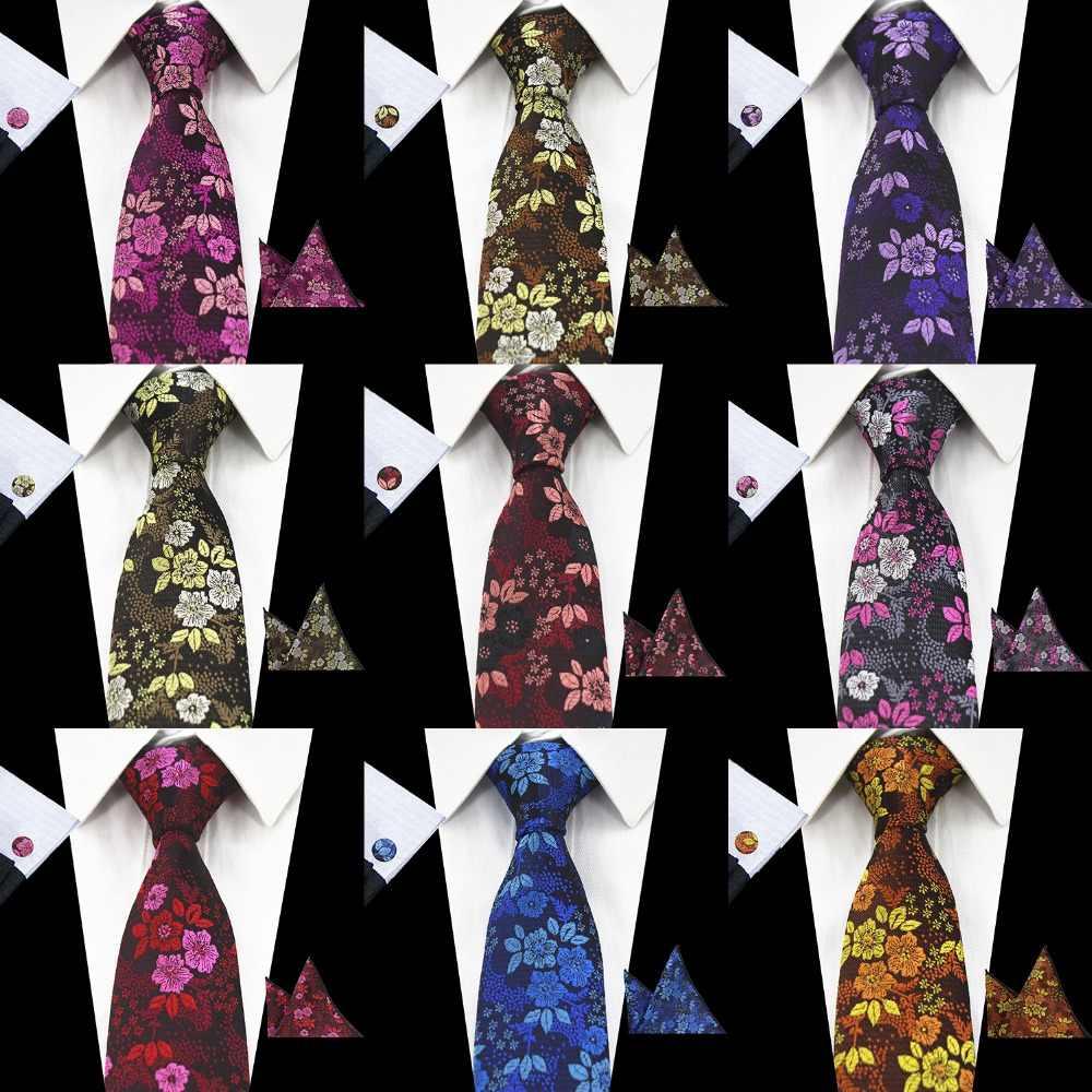 RBOCOTT جديد وصول الأزهار العلاقات التعادل موضة 7 سنتيمتر ربطة العنق الأزرق الزفاف الأحمر الرجال الأخضر الأرجواني الحرير رابطة عنق المنديل و مجموعة أزرار الأكمام