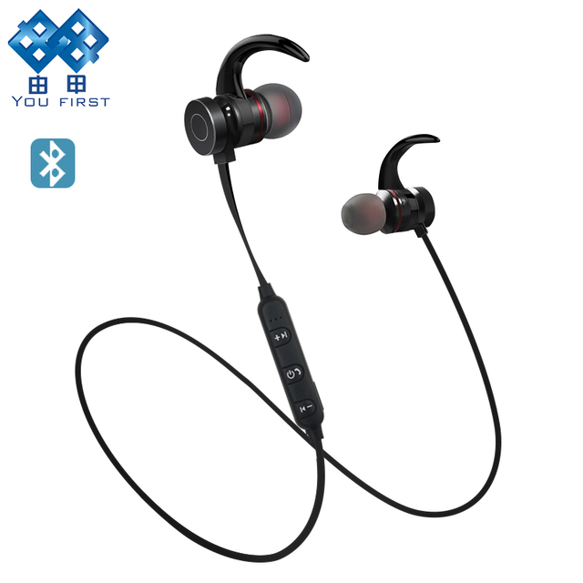 YOU FIRST Headphone Wireless Sport Stereo With Mic Metal Magnetic
