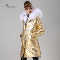 Factory Price Winter Coats Women Korean Style Casual Mrs Faux Fur Lined Jackets Outerwear Gold Military