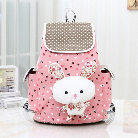 Fashion Women Backpack2016 cartoon rabbit dot canvas Backpack Girl High Quality Travel Books Rucksack school bag large capacity