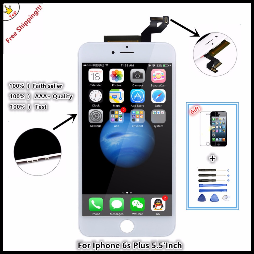 ФОТО 20pcs/lot Grade AAA pantalla No Dead Pixel replacement screen For iPhone6S plus LCD Display with touch Digitizer Assembly Free