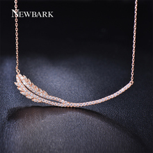 NEWBARK Classical Feather Pendant Necklace For Women Rose Gold Plated Tiny AAA CZ Diamond Paved Necklaces Jewelry Wedding Gift