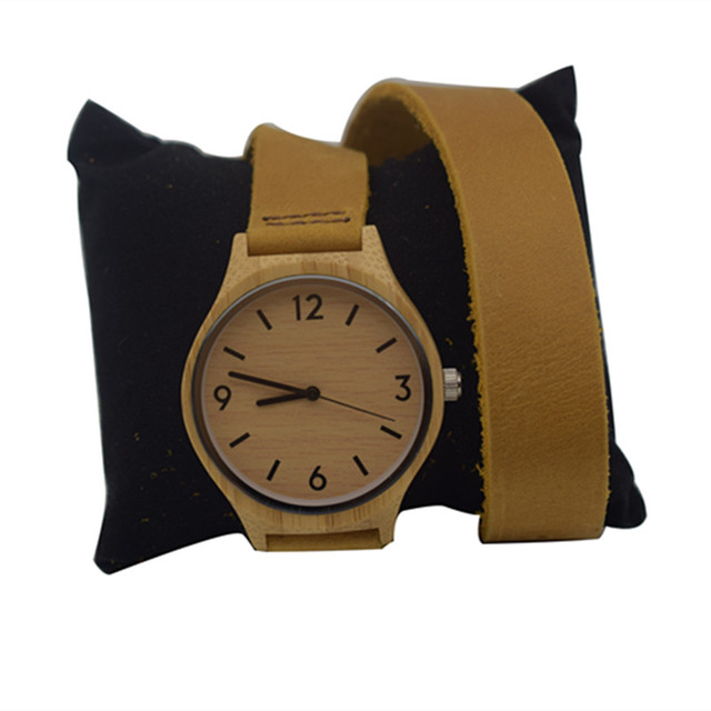 Newest Fashion Womens Leather Bamboo Wooden Watches With Long Geunine Leather Wa