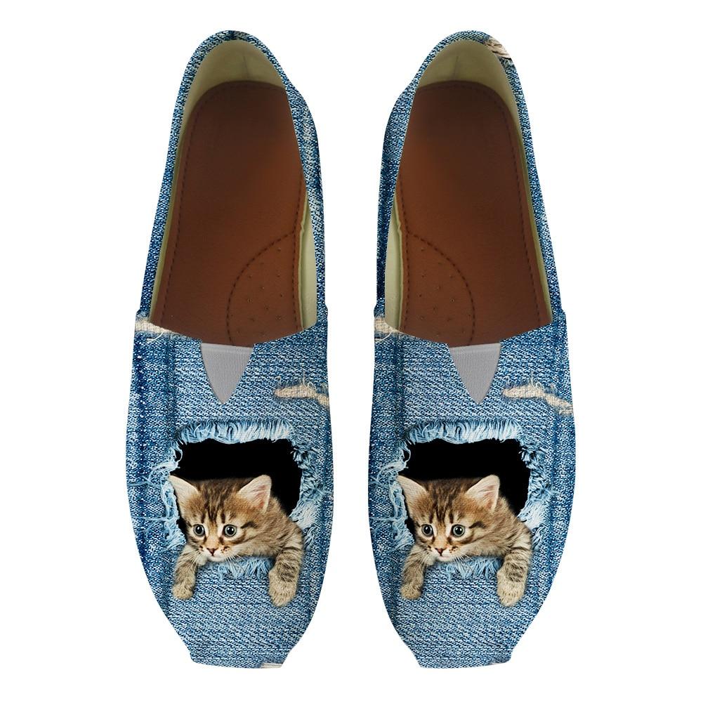 100% QualitäT Neue Nette Denim Katzen 3d Druck Blau Frauen Wohnungen Bootsschuhe Moccains Damen Freizeit Slip-on Loafer Turnschuhe Krankenschwester Arbeiten Schuhe