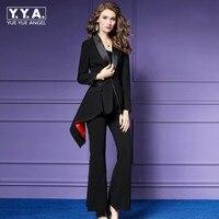 Модные черные офисные одежда Для женщин костюмы Формальные 2 шт. женский тонкий Роскошные Повседневное Бизнес костюмы дамы Широкие штаны ко