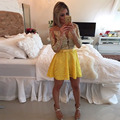 2016 Red/Yellow/Green Homecoming dresses Long Sleeves Scoop Neck Ivory Lace Pearls Open Back A Line Short Prom Cocktail Dresses