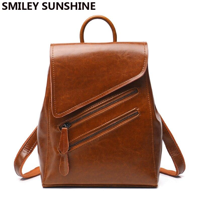 SMILEY SOLEIL de mode femmes sac à dos de haute qualité en cuir véritable femelle sac à dos rouge multifonctionnel épaule sac pour femmes