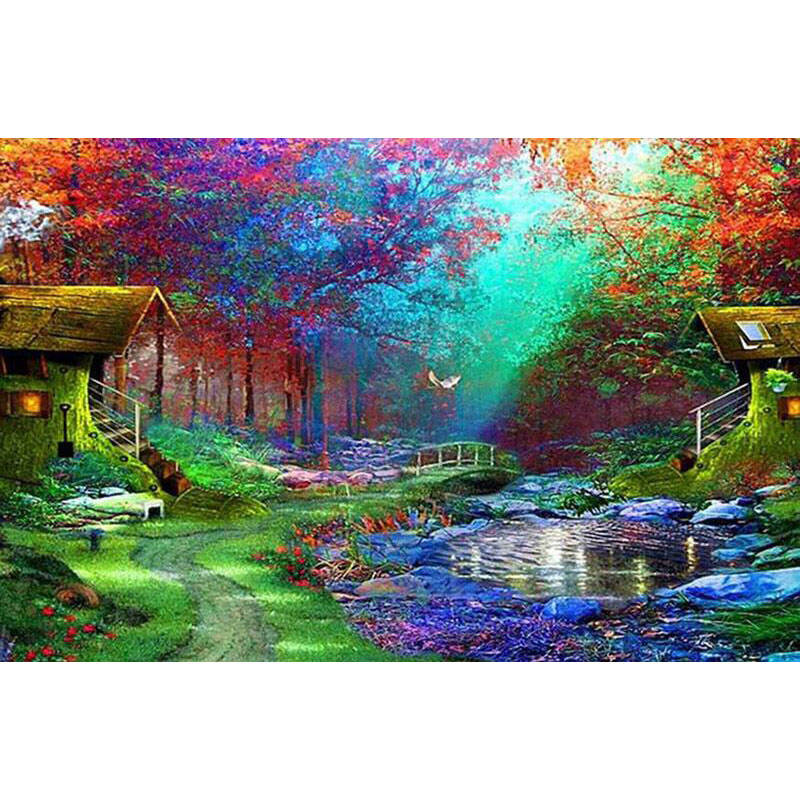 5d Diy Needlework Diamond Painting Landscape Cottage square Diamond Embroidery Color Scenery Round Home Decor Craft gift v274