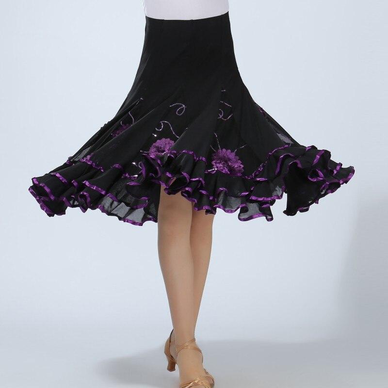 Loose Flower Elegant Sequins Casual Skirt Dance Practice Wear For Women Hot Latin Dance Long Swing Skirt For Women