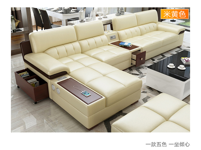 Living Room Sofa Corner Real Genuine Leather Sofas With Speaker Usb For Iphone Minimalist Muebles