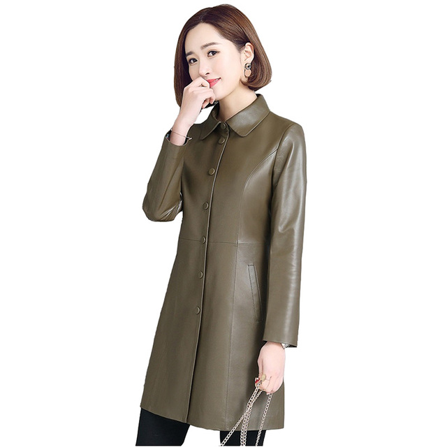 Sheep leather jackets women 2018 spring autumn high quality Windbreaker coat Plus size 5XL real leather jacket ladies Tops H456 1