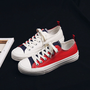 Image 2 - Fashion Shoes Woman 2019 Summer New Fashion Women Shoes Casual Flats Patchwork Canvas Women Casual Shoes Color Sneakers