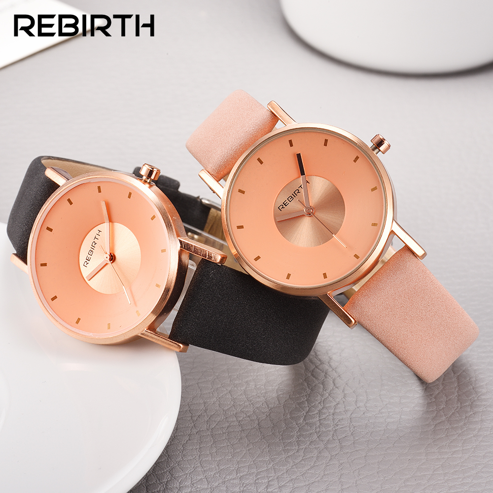 Simple women fashion watches with gold dial REBIRTH popular luxury brand woman quartz clock leather wristwatch relogio feminino elegant design bling diamond sands dial women watches fashion female dress watch rebirth luxury brand leather quartz clock gifts