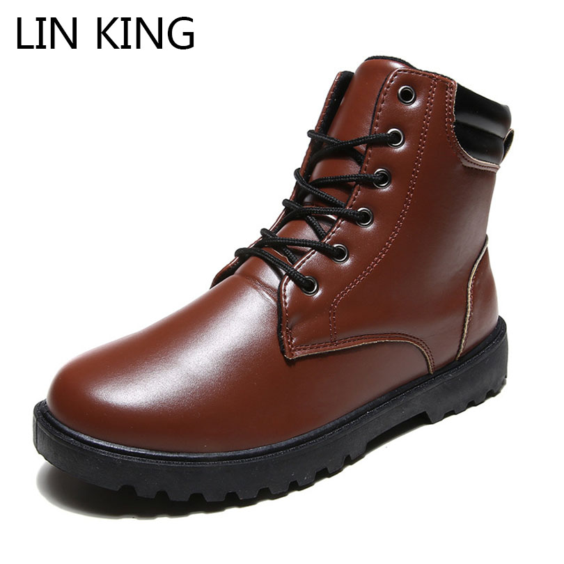 LIN KING British Style Martin Boots Winter Men Warm Snow ...