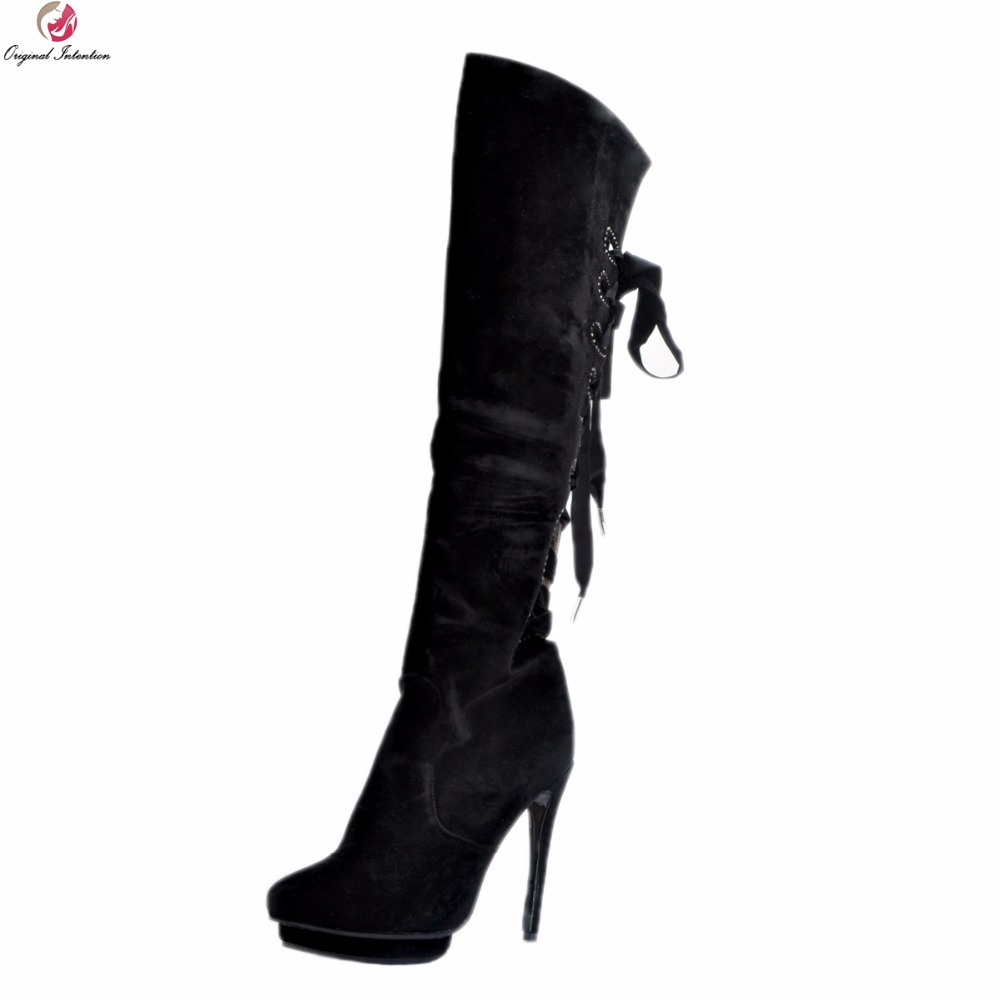 Original Intention New Stylish Women Over-the-knee Boots Platform Round Toe Thin Heels Boots Black Shoes Woman Plus US Size 4-15 new arrival sexy over the knee boots women platform round toe thin high heels boots black white shoes woman winter