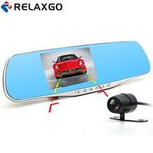 Relaxgo 4.3″car dvr full hd 1080p video recorder rearview mirror car camera parking dual lens dash cam night vision black box