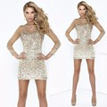 Bling Beaded Rhinestone Party Cocktail Dresses See Through Long Sleeves Shining Crystal Short Prom Dress Vestidos de festa curto