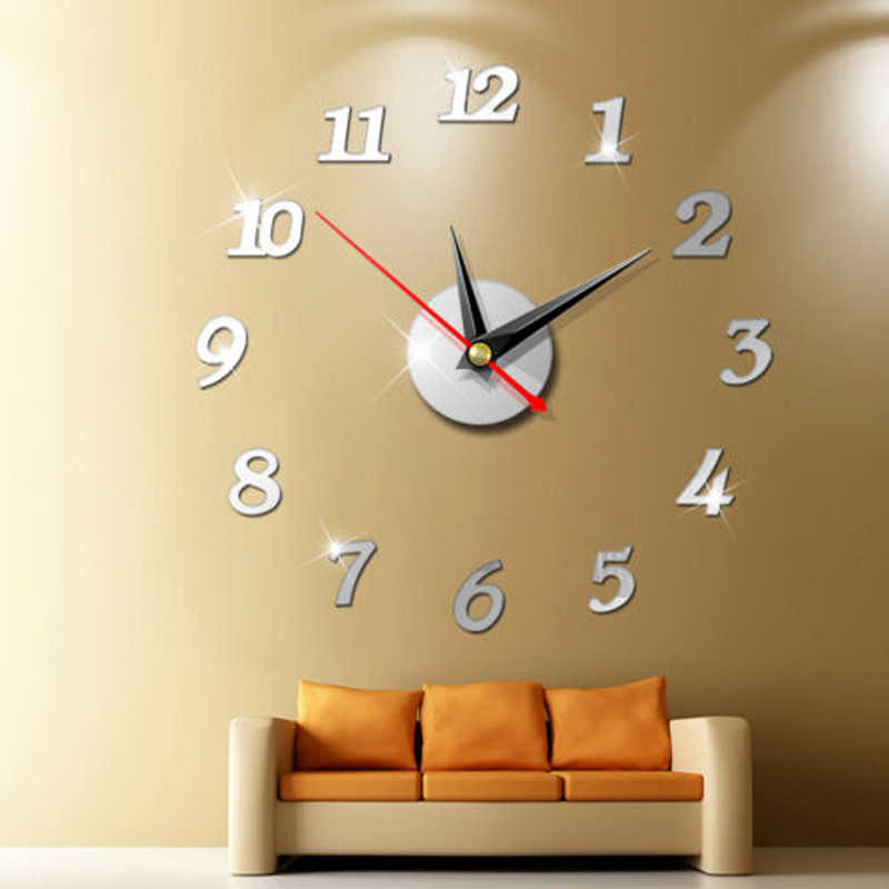 Modern Large Wall Clock 3d Mirror สติก