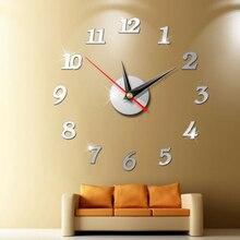 Reloj de pared grande moderno pegatina de espejo 3d reloj de Número grande único Diy decoración de pared arte del reloj pegatina decoración moderna del hogar